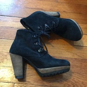 Black suede tie up ankle booties